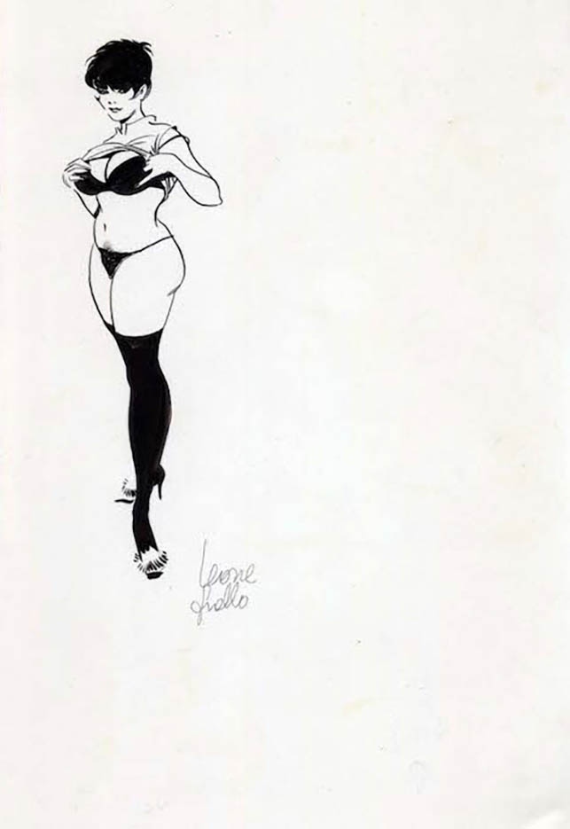 "Леон Фролло (Leone Frollo) ""Babe in Black"" (drawing)"