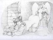 """Леон Фролло (Leone Frollo) """"Biancaneve e la Strega"""" (drawing)"""