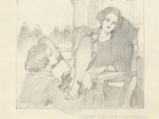 "Леон Фролло (Leone Frollo) ""The Black Gloves"" (drawing)"