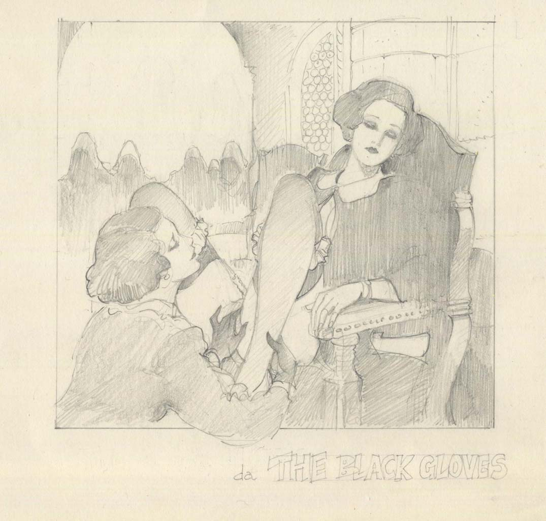"Леон Фролло (Leone Frollo) ""The Black Gloves"" (drawing)"