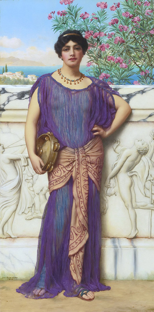 Джон Уильям Годвард (Godward John William). Девушка с бубном 1906