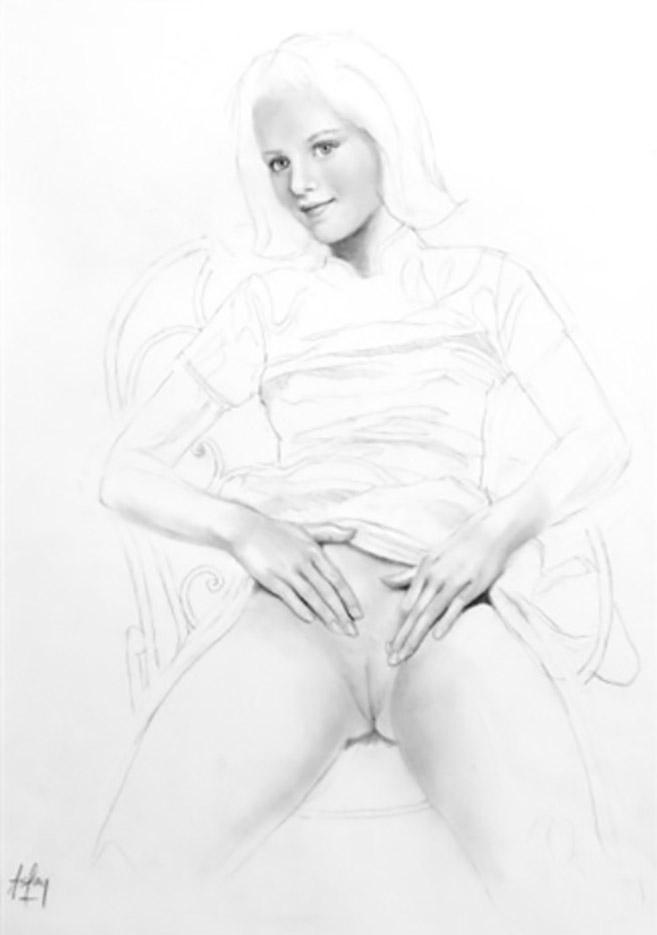 """Аслан (Ален Гурдон), (Aslan (Alain Gourdon) (Drawings) """"Illustration à la mine de plomb représentant une jeune fille dénudée assise sur une chaise"""""""