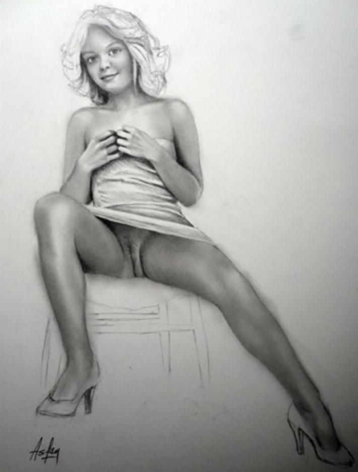 """Аслан (Ален Гурдон), (Aslan (Alain Gourdon) (Drawings) """"Jeune femme dévêtue sur une chaise"""""""