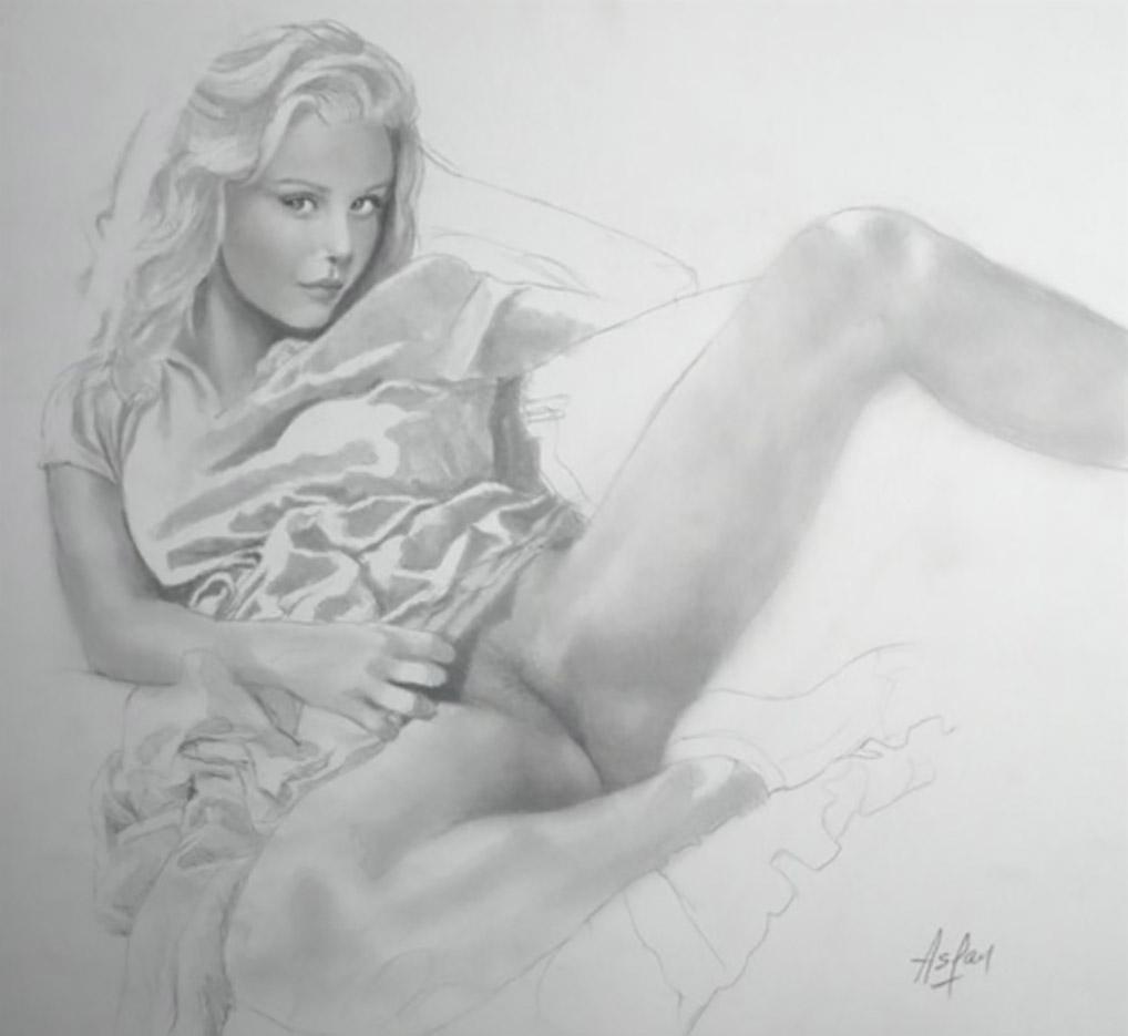 "Аслан (Ален Гурдон), (Aslan (Alain Gourdon) (Drawings) ""Jeune femme dévêtue"""
