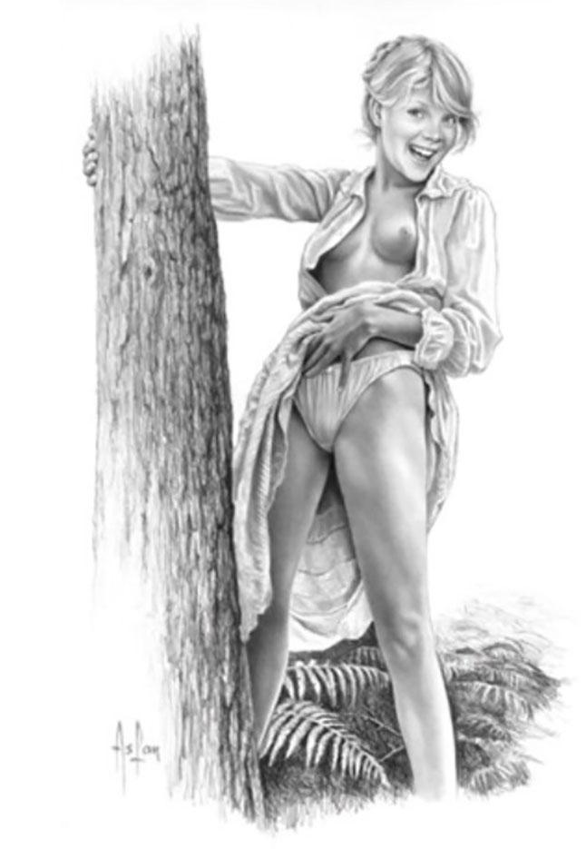 "Аслан (Ален Гурдон), (Aslan (Alain Gourdon) (Drawings) ""Dans les bois"""