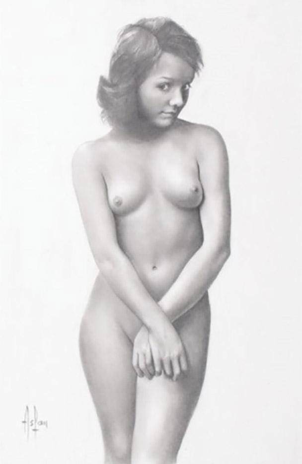 "Аслан (Ален Гурдон), (Aslan (Alain Gourdon) (Drawings) ""Une jeune fille dénudée debout"""