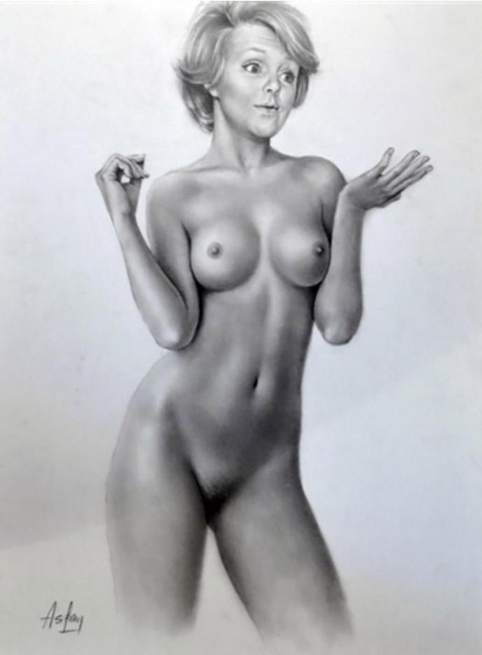 """Аслан (Ален Гурдон), (Aslan (Alain Gourdon) (Drawings) """"Brigitte la femme d'Aslan nue de face"""""""