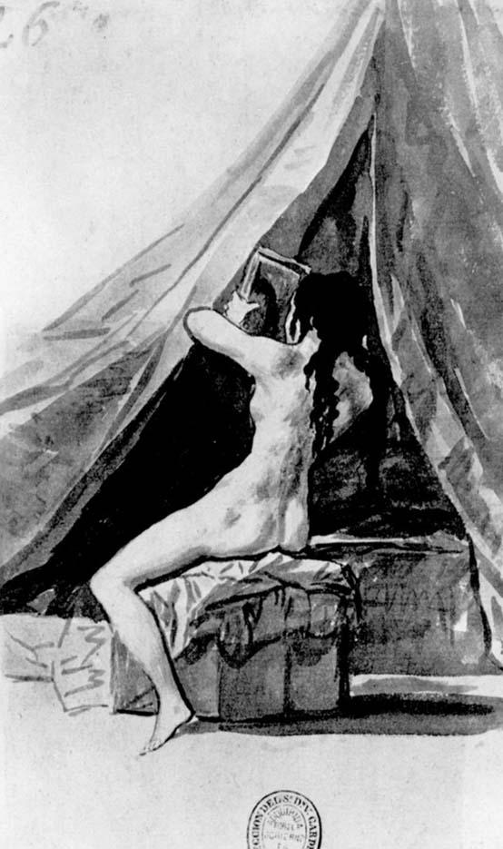 "Франсиско Гойя (Francisco Goya) ""Обнаженная натурщица с зеркалом, со спины, или После ванны | Nude model with a mirror, from the back, or After a bath"""
