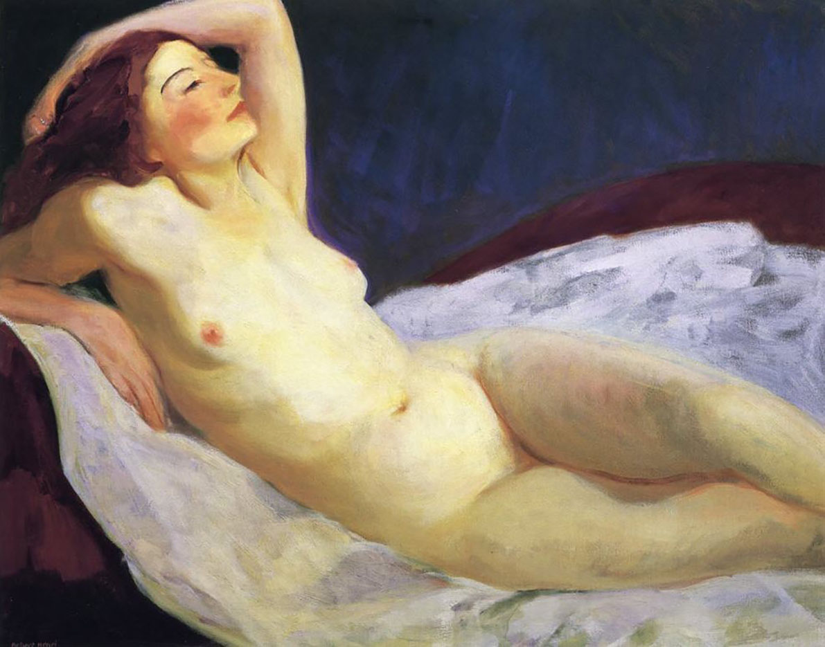 Reclining nude painting by marcel dyf for sale
