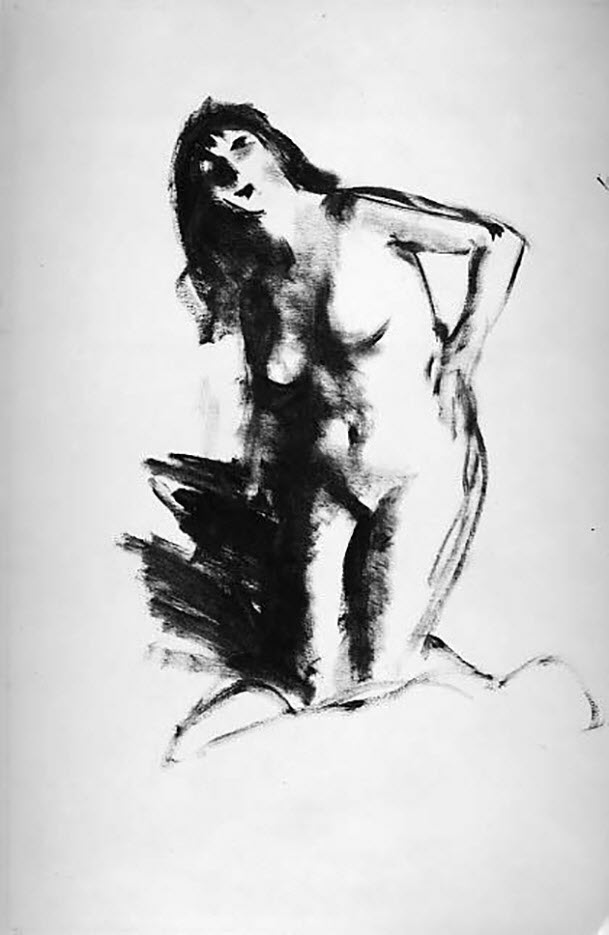 "Роберт Генри (Robert Henri) ""Nude Kneeling (Drawing)"""
