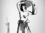 "Роберт Генри (Robert Henri) ""Semi-nude Female with Fan (Drawing)"""