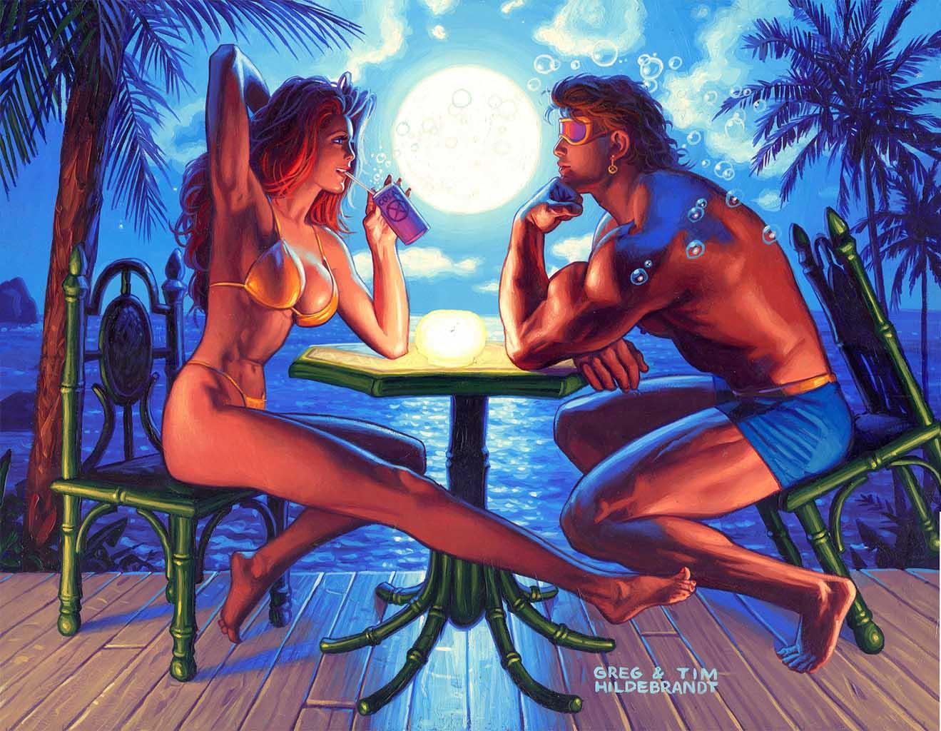 Грег Хильдебрандт (Greg Hildebrandt), Jean and Scott Marvel Swimsuit painting