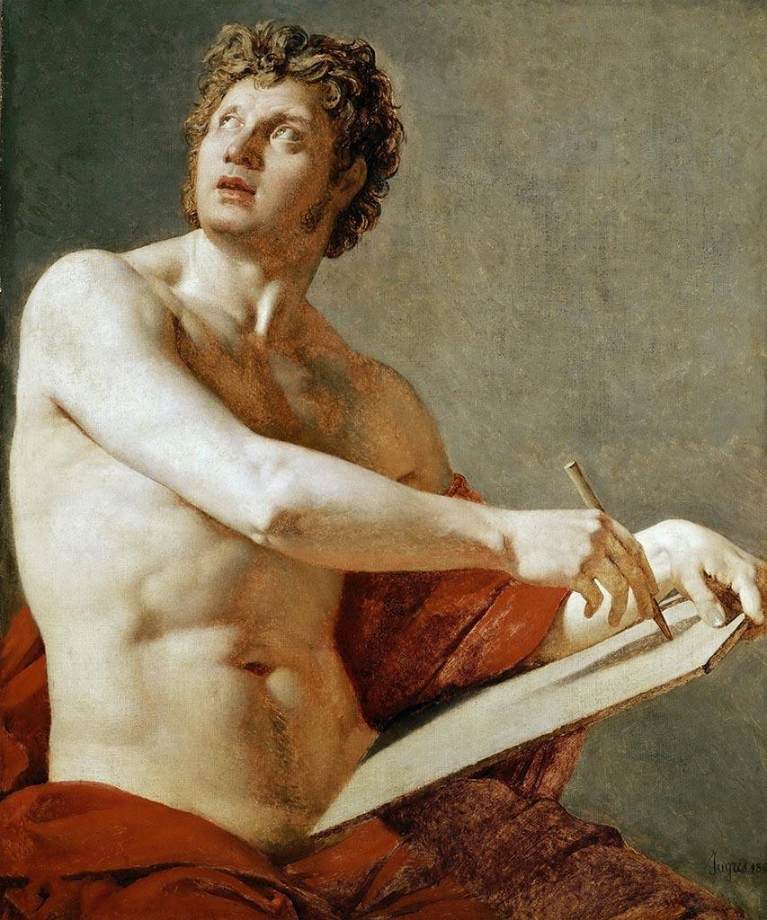 """Жан Огюст Доминик Энгр (Jean Auguste Dominique Ingres), """"Академический этюд мужского торса"""""""