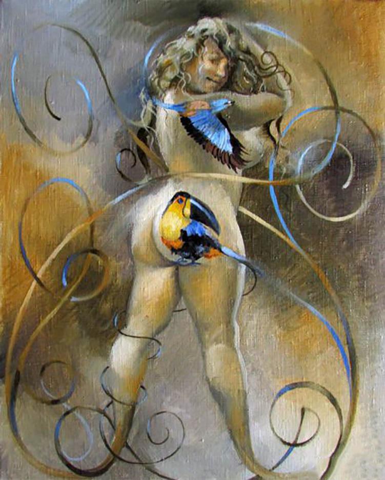"Александр Геннадиевич Иванов (Aleksandr Gennadievich Ivanov) ""Девушка и птицы - 4 | Girl and Birds - 4"""