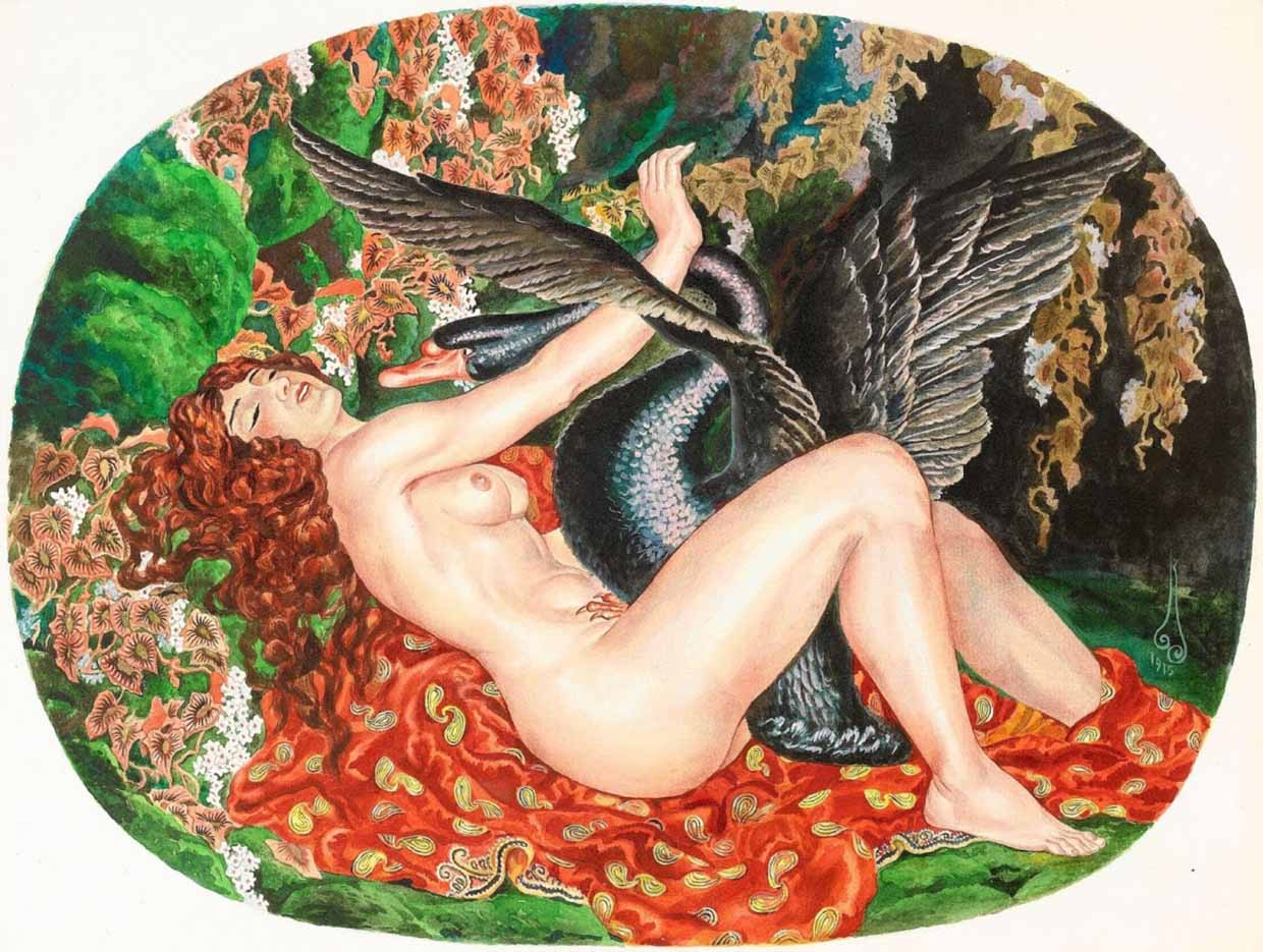 "Николай Калмаков (Nikolai Kalmakov) ""Leda and the Swan - 2"""