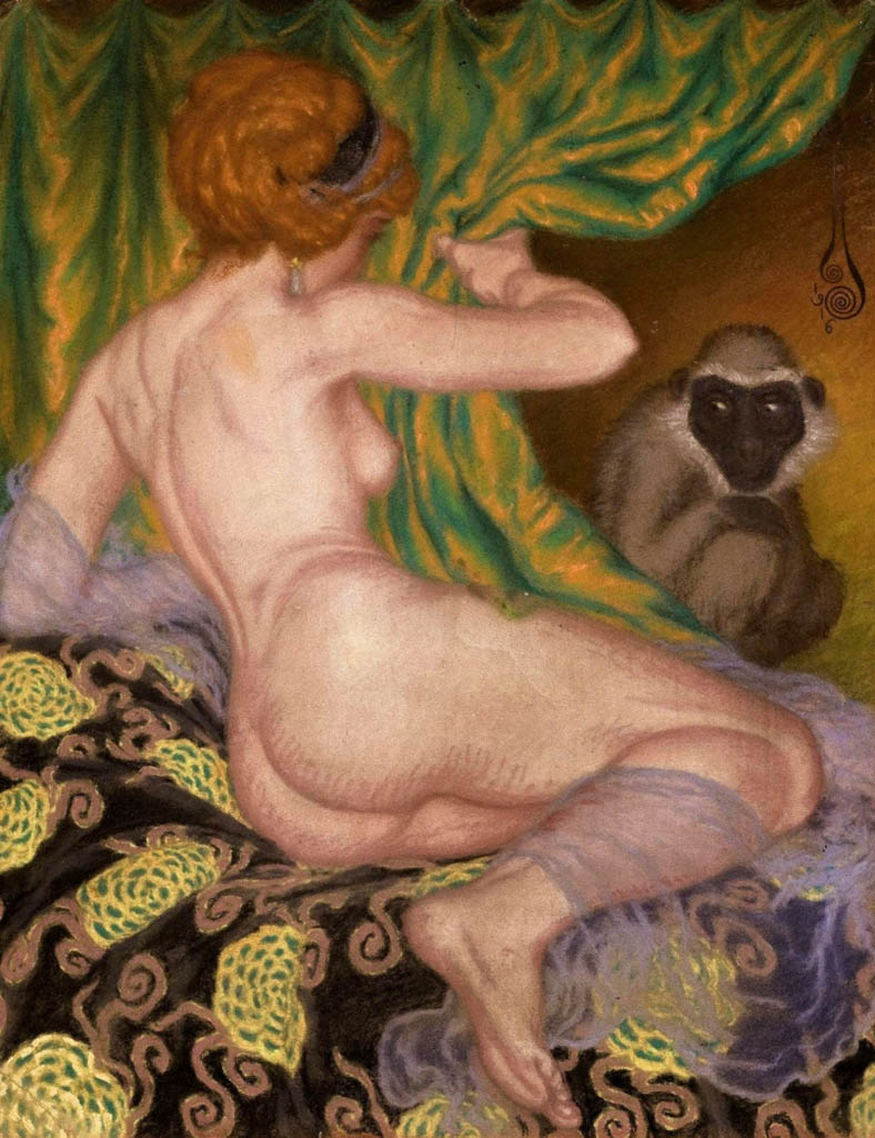 "Николай Калмаков (Nikolai Kalmakov) ""Naked with a monkey"""