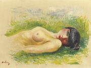 "Моисей Кислинг (Moise Kisling) ""Обнаженная, лежащая на траве 