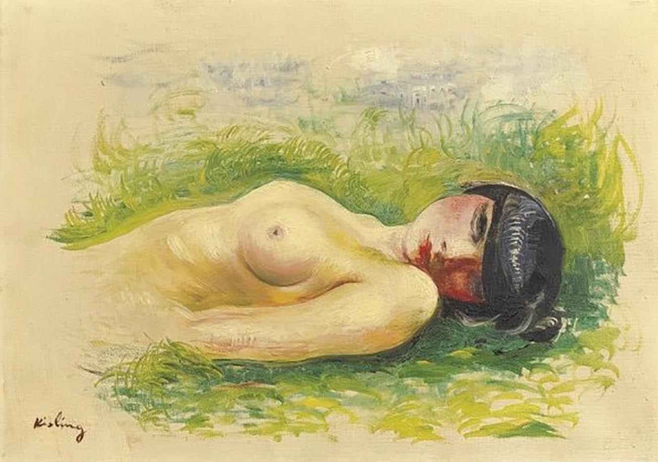 "Моисей Кислинг (Moise Kisling) ""Обнаженная, лежащая на траве | Nude woman lying on the grass | Nu Allonge sur l Herbe"""