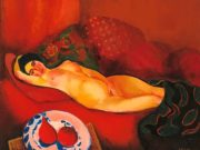 "Моисей Кислинг (Moise Kisling) ""Обнаженная на красной кушетке | Nude on red couch | Nu au divan rouge"""