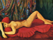"Моисей Кислинг (Moise Kisling) ""Large nude Josan on red couch"""