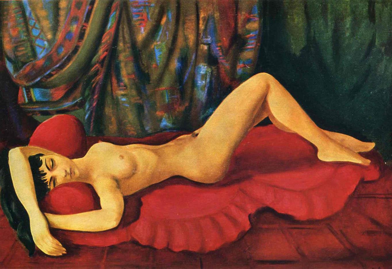 """Моисей Кислинг (Moise Kisling) """"Large nude Josan on red couch"""""""