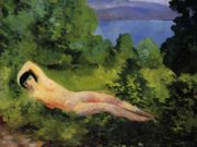 "Моисей Кислинг (Moise Kisling) ""Лежащая обнаженная в листьях 