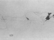 Густав Климт (Gustav Klimt) эскиз, Liegender weiblicher Halbakt, den Kopf in die Beuge des linken Armes gelegt
