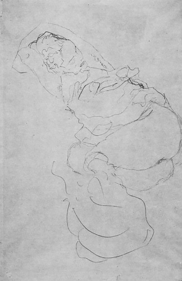 Густав Климт (Gustav Klimt) эскиз, Liegender weiblicher Halbakt mit uber den Kopf verschrankten Armen