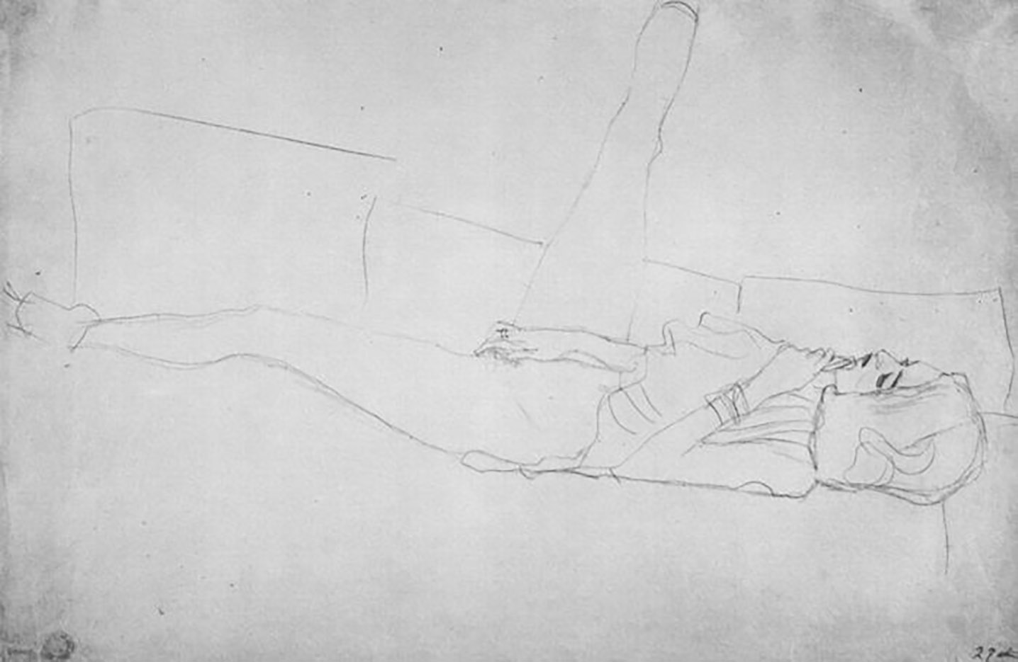 Густав Климт (Gustav Klimt) эскиз, Liegender weiblicher Halbakt mit aufgestelltem rechtem Bein
