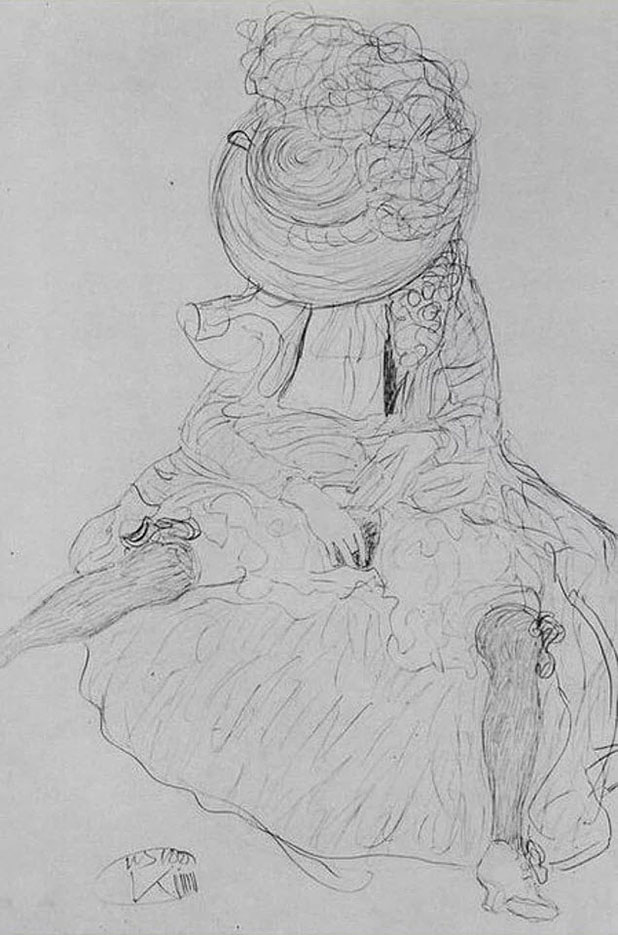 Густав Климт (Gustav Klimt) эскиз, Sitzende mit Hut, der das Gesicht verdeckt