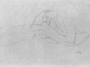 Густав Климт (Gustav Klimt) эскиз, Sitzender weiblicher Halbakt nach links, den Kopf auf die Knie gebeugt