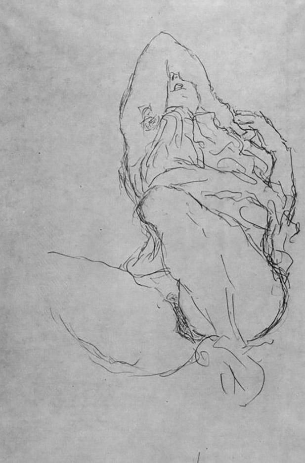 Густав Климт (Gustav Klimt) эскиз, Sitzender weiblicher Halbakt, das Gesicht mit dem Arm halb verdeckt