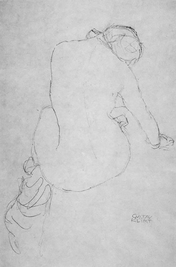 Густав Климт (Gustav Klimt) эскиз, Sitzender weiblicher Ruckenakt