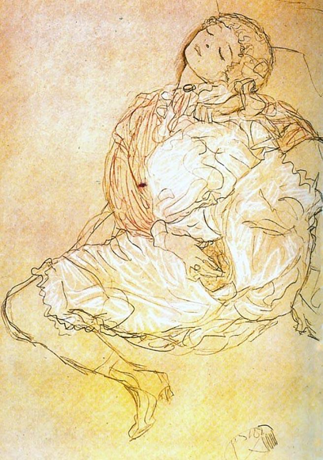 Густав Климт (Gustav Klimt) эскиз, Woman with Legs Open