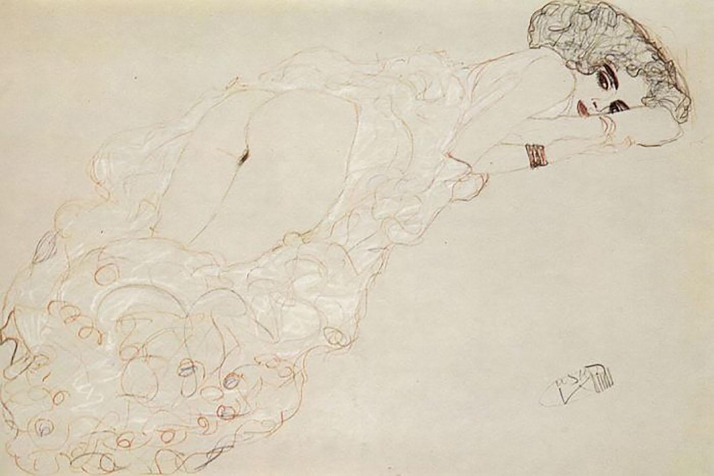 Густав Климт (Gustav Klimt) эскиз, Auf dem Bauch Liegende