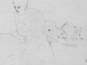 Густав Климт (Gustav Klimt) эскиз, Dicke sitzende Frau im Vordergrund, hinter ihr zwei Liegende