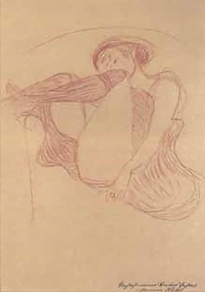 Густав Климт (Gustav Klimt) эскиз, Этюд к «Данае»