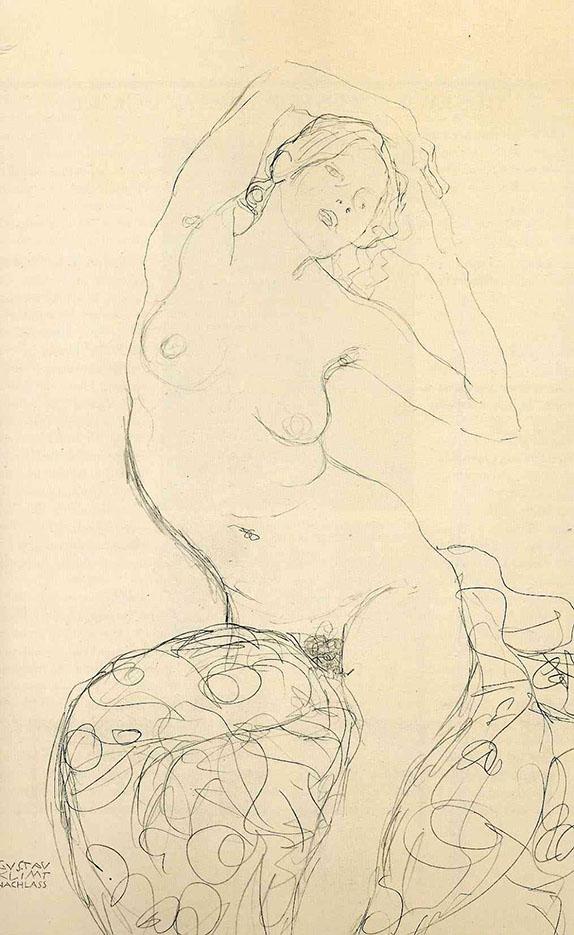Густав Климт (Gustav Klimt) эскиз, Сидящая обнаженная с руками, закинутыми за голову