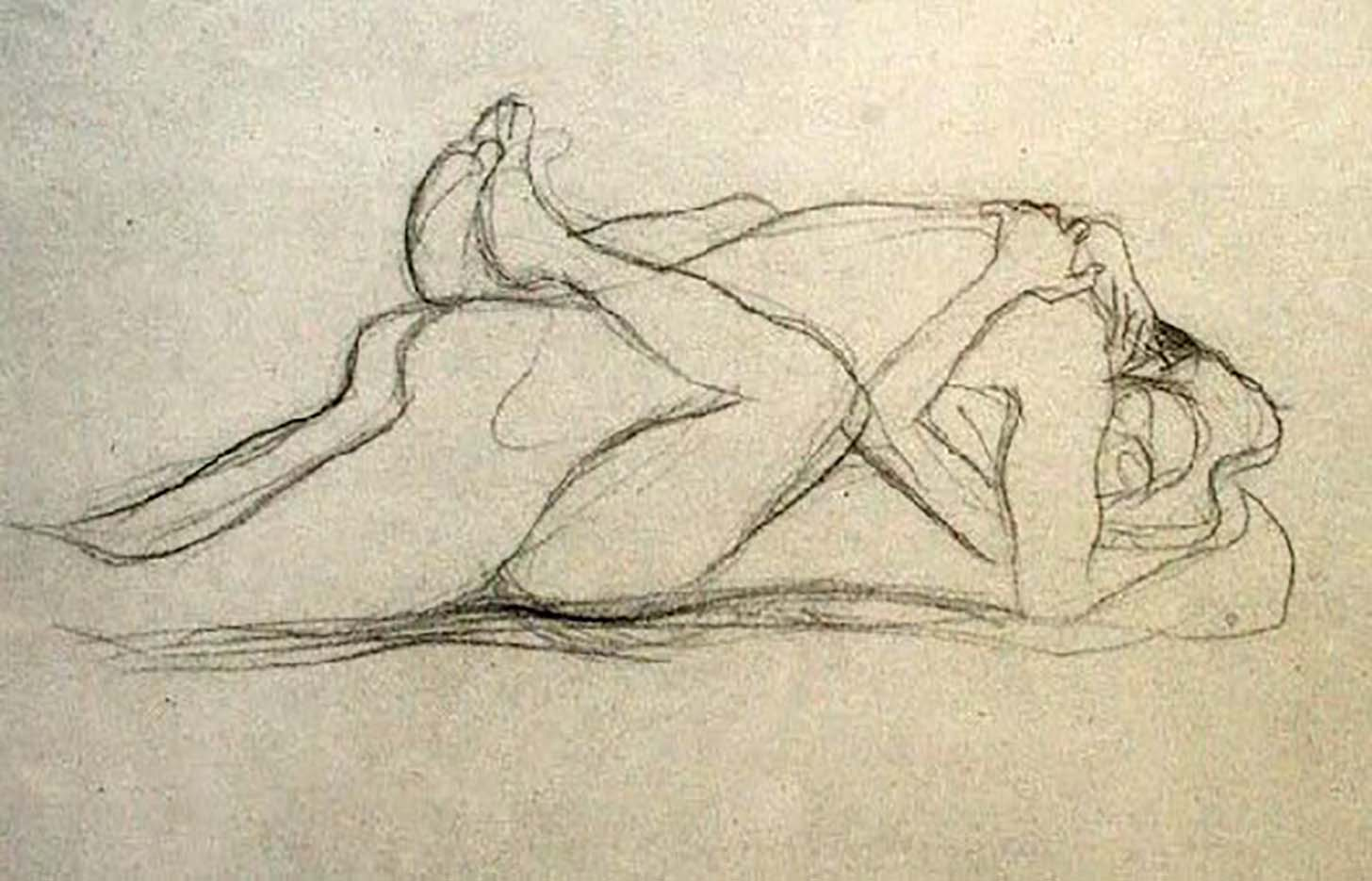 Густав Климт (Gustav Klimt) эскиз, Recumbent Lovers