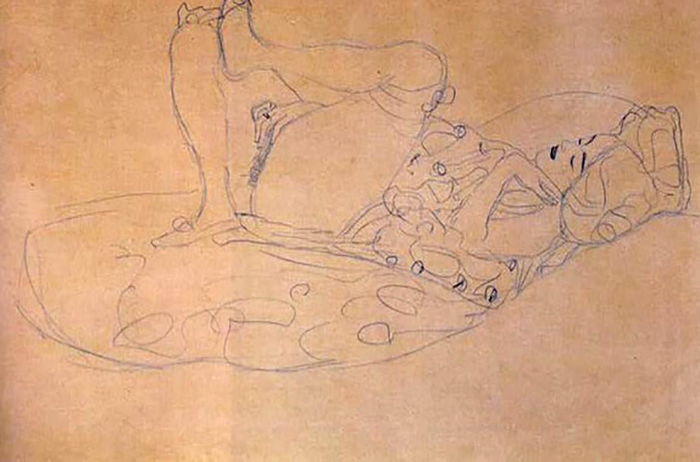 Густав Климт (Gustav Klimt) эскиз, Reclining Female