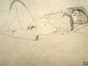 Густав Климт (Gustav Klimt) эскиз, Recumbent Semi-Nude