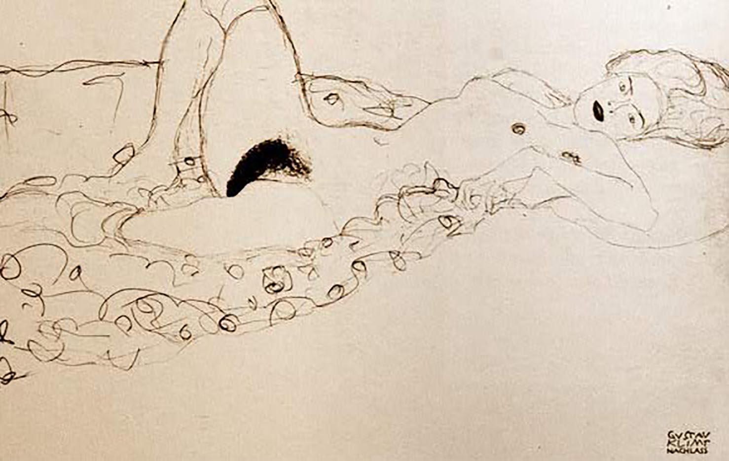 Густав Климт (Gustav Klimt) эскиз, Woman with Legs Open (2)