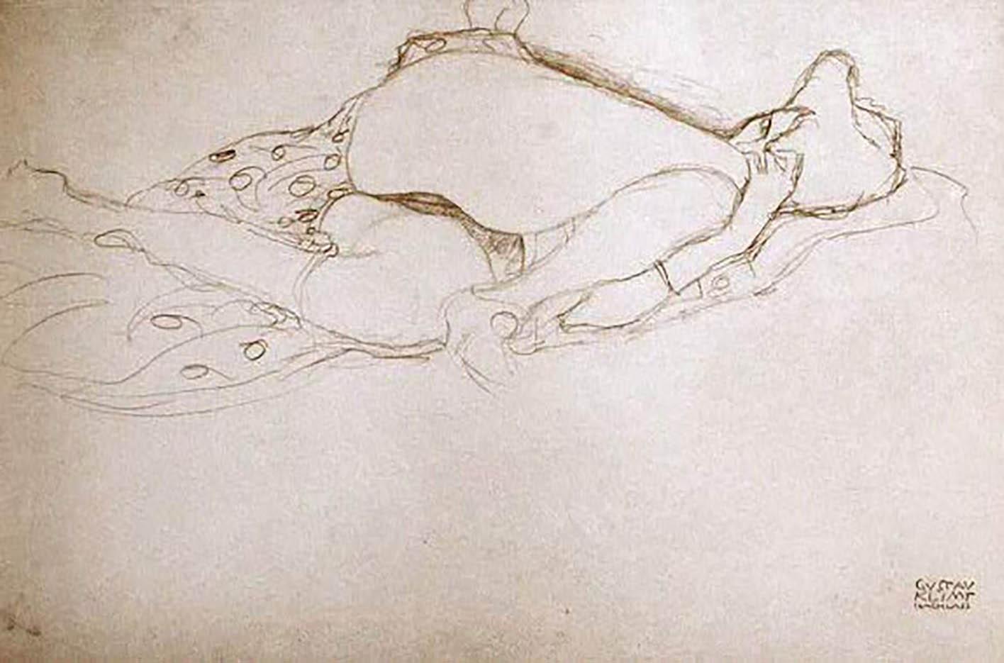 Густав Климт (Gustav Klimt) эскиз, Woman, Semi-Nude