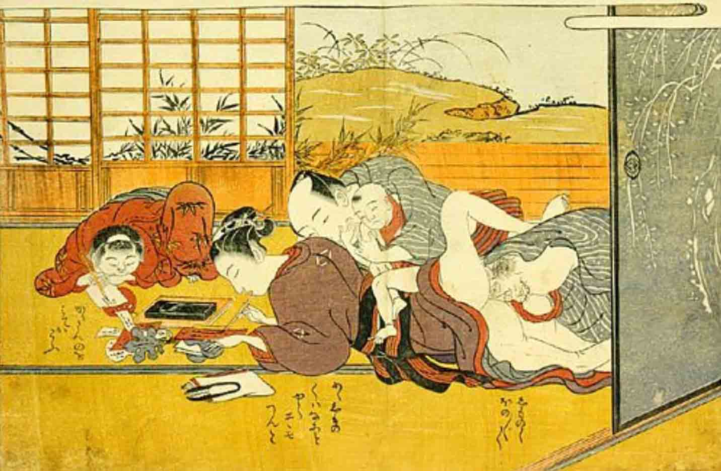 """Исода Корюсай (Isoda Koryusai) """"Father making love to his wife"""""""