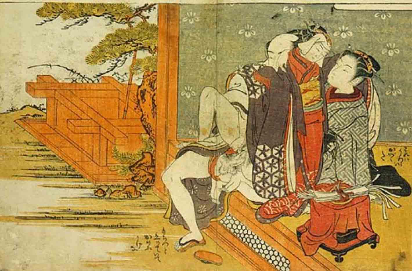 """Исода Корюсай (Isoda Koryusai) """"Young girl watching couple making love sitting up on the veranda"""""""
