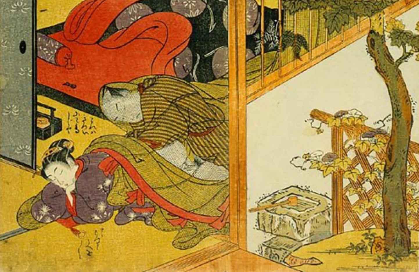 """Исода Корюсай (Isoda Koryusai) """"Man making love to a sleeping woman underneath a mosquito net"""""""