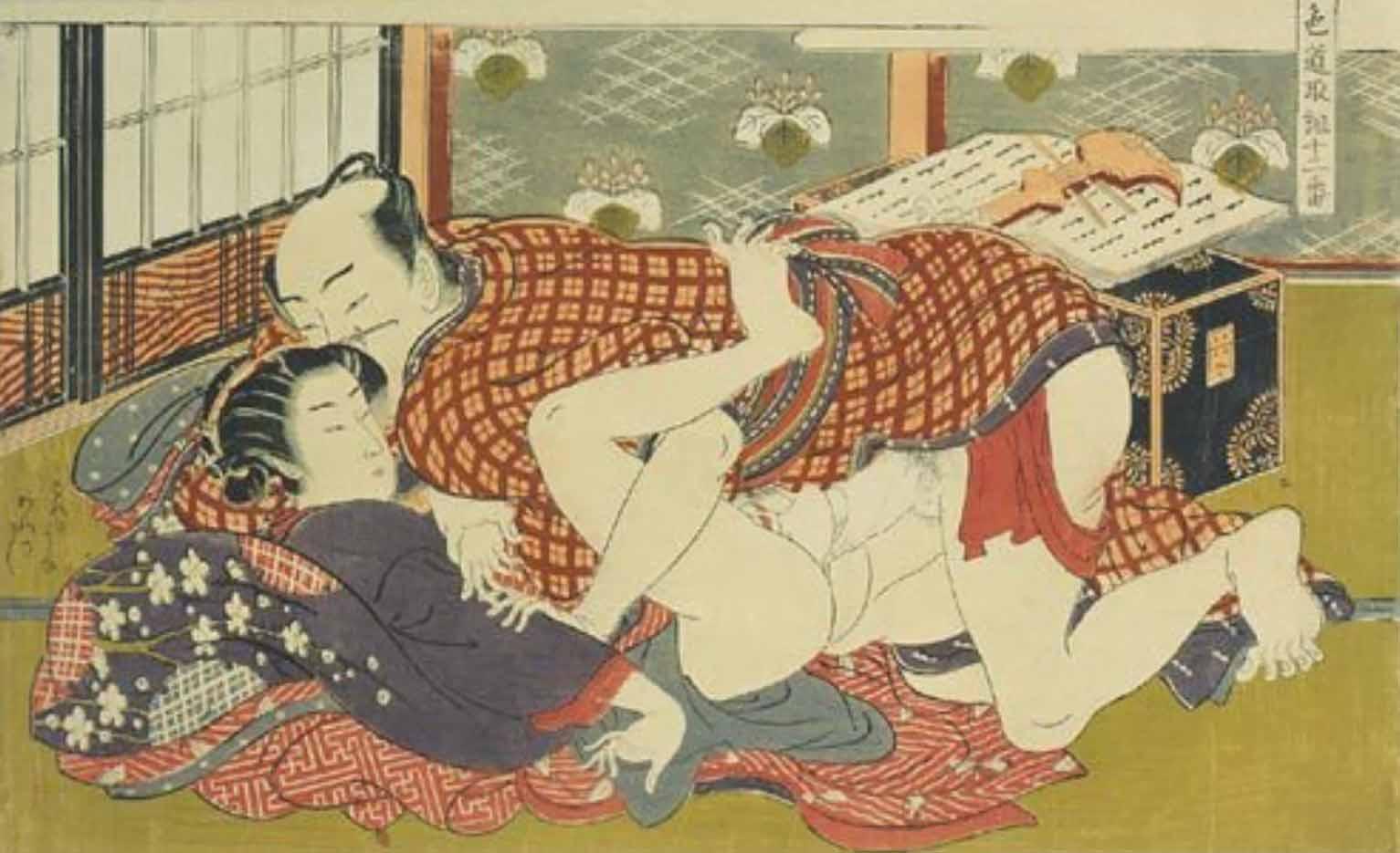 "Исода Корюсай (Isoda Koryusai) ""Couple making love before a shamisen"""