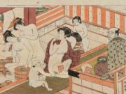 "Исода Корюсай (Isoda Koryusai) ""Men and women intermingling in bathouse"""