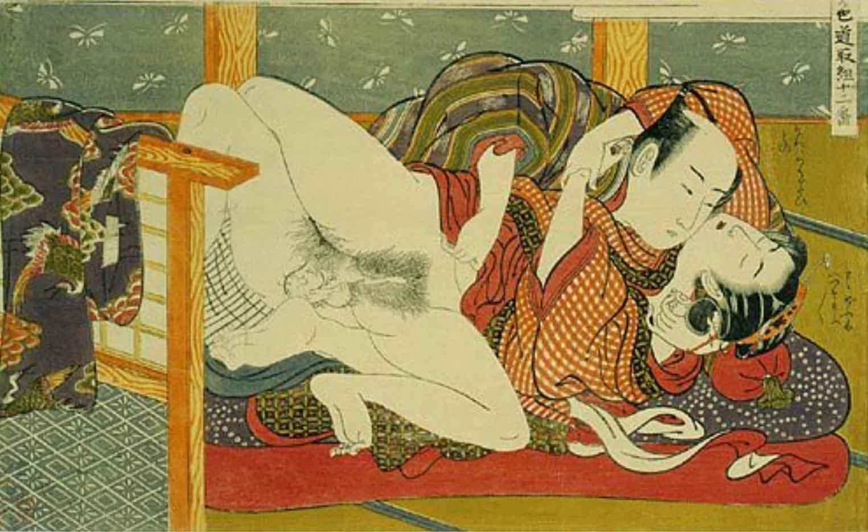 "Исода Корюсай (Isoda Koryusai) ""Couple in throes of love in front of a kimono stand"""