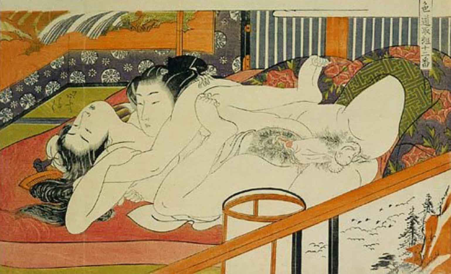 """Исода Корюсай (Isoda Koryusai) """"Lovers in ecstasy in front of a screen depicting a waterfall"""""""